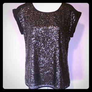 Express Black blouse with Gold Sequin Shirt